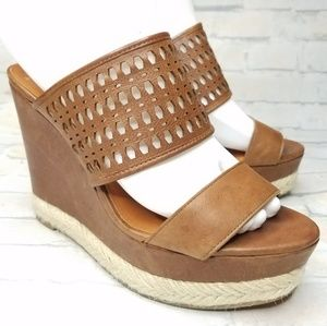 Via Spiga Brown Leather Open Back Wedge